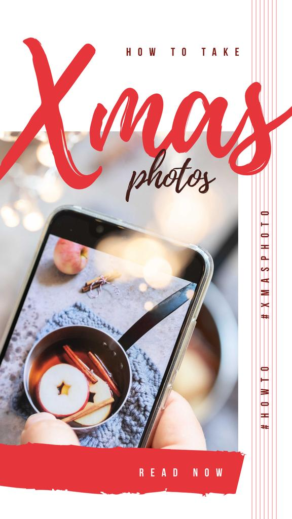 Taking photo of mulled wine on Christmas — Create a Design