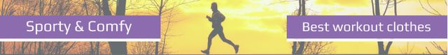 Ontwerpsjabloon van Leaderboard van Workout Equipment Offer Man Running Outdoors
