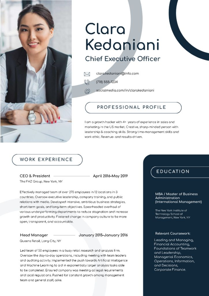Modèle de visuel Chief Executive Officer skills and experience - Resume