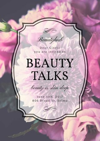 Beauty Event announcement on tender Spring Flowers Invitation Modelo de Design