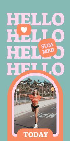 Summer Inspiration with Cute Girl on Beach Graphic – шаблон для дизайна