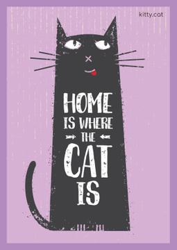 Pet Adoption Quote with Funny Cat in Purple