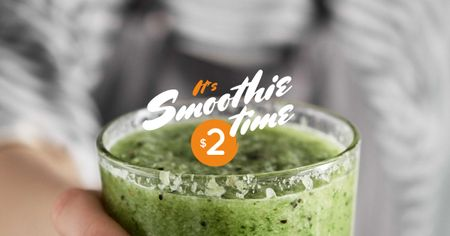 Woman holding Green Smoothie Facebook AD Design Template