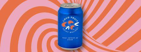 Ontwerpsjabloon van Facebook Video cover van Fruit Drink in Blue Can