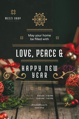 New Year Greeting with Decorations and Presents Tumblr tervezősablon