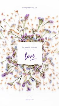 Valentine's Card with Herb purple and blue Flowers frame