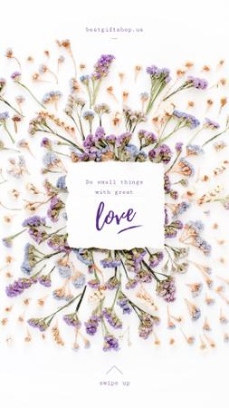Valentine's Card with Herb purple and blue Flowers frame Instagram Storyデザインテンプレート