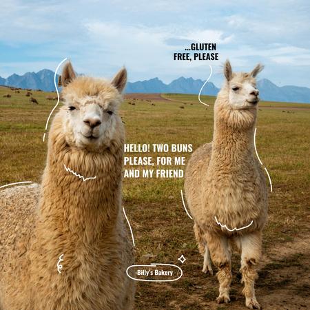Bakery Promotion with Funny Lamas in Wild Field Instagram – шаблон для дизайну