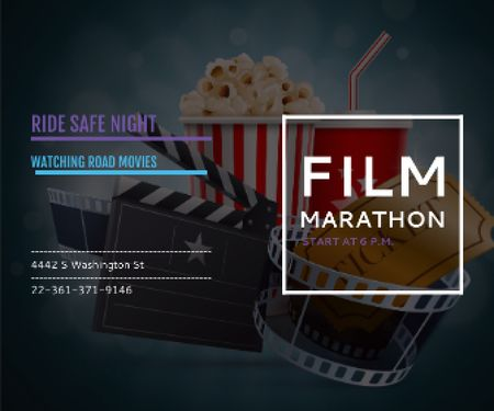Ontwerpsjabloon van Large Rectangle van Film marathon night