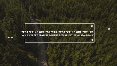 Ecology Quote with Forest Road View FB event cover – шаблон для дизайна