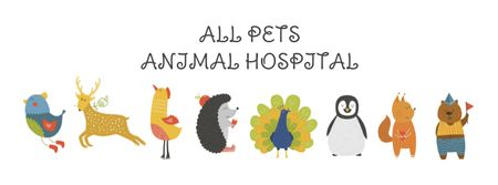 Animal Hospital ad with Animals Icons Facebook coverデザインテンプレート