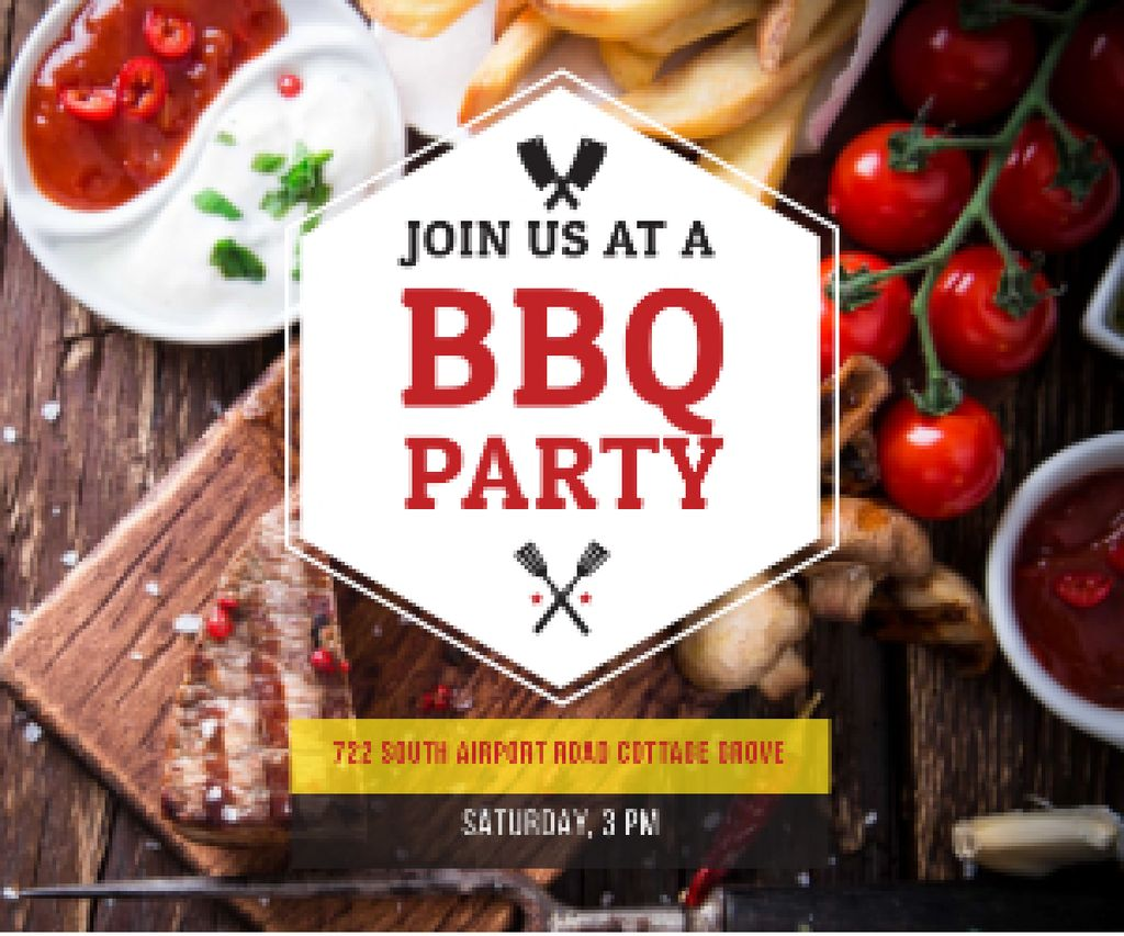 Ontwerpsjabloon van Medium Rectangle van BBQ party poster