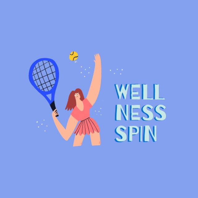 Illustration of Woman playing Tennis Logo – шаблон для дизайна