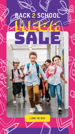 Designvorlage Back to School Sale Running Kids at School für Instagram Story