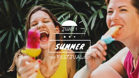 Modèle de visuel Happy Girls eating Ice Cream - FB event cover