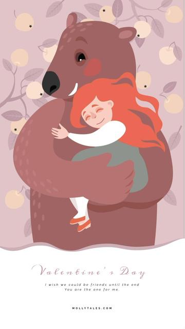 Valentine's Day Pretty Girl Hugging Bear Instagram Video Story Modelo de Design