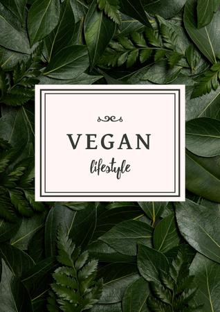 Vegan Lifestyle Concept with Green Leaves Poster Design Template
