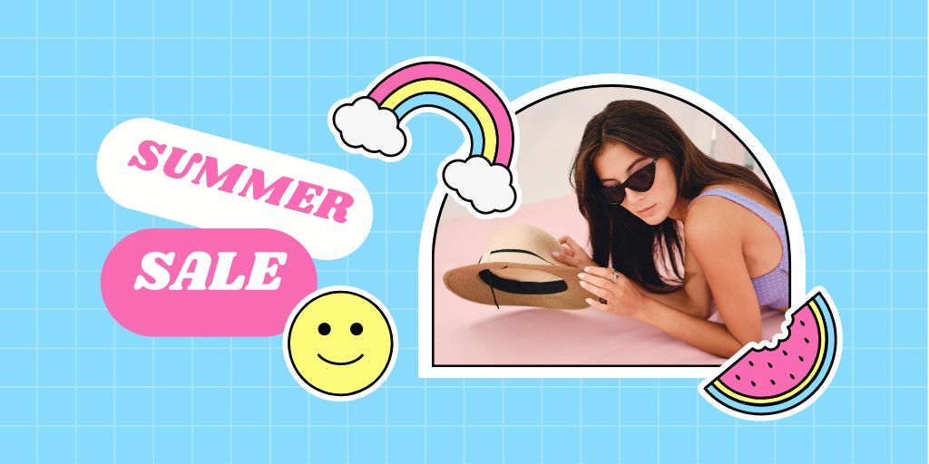 Summer Sale Ad with Woman holding Straw Hat Twitter Design Template