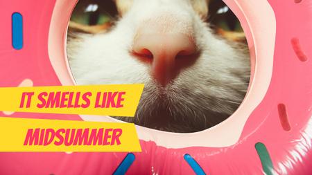 Funny Kitty sniffing Donut Youtube Thumbnail Modelo de Design