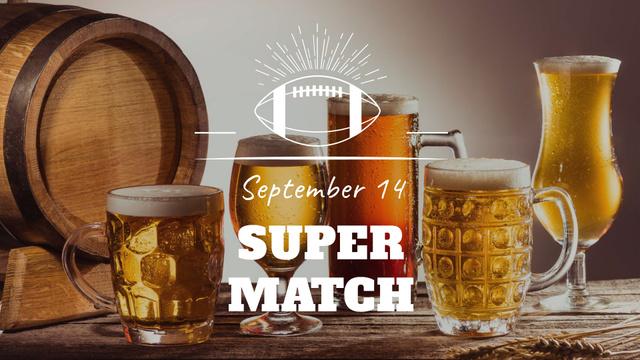 Super Bowl Match Announcement with Beer Glasses FB event cover Šablona návrhu