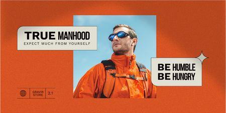 Manhood Inspiration with Man in Hiking Sportswear Twitter Design Template