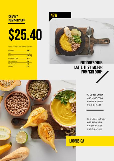 Recipe of Creamy Pumpkin Soup Poster Modelo de Design