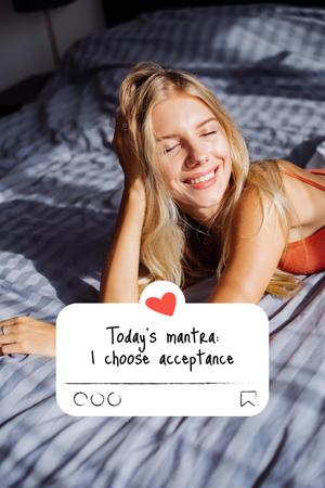 Modèle de visuel Mental Health Inspiration with Happy Woman in Bed - Pinterest