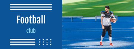 Plantilla de diseño de Football Club Announcement with Player holding Ball Facebook cover