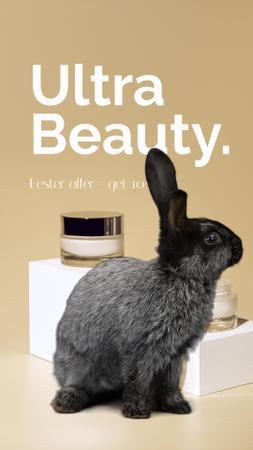 Cosmetics Easter Offer with cute Bunny Instagram Video Story Modelo de Design