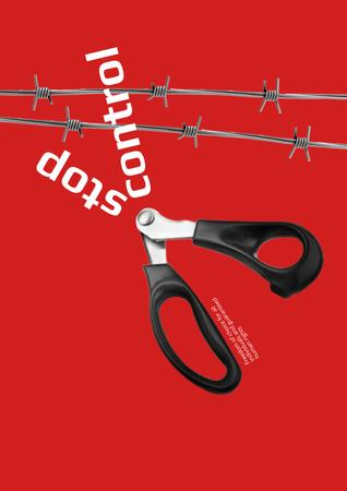 Social Issue Illustration with Scissors cutting Barbed Wire Poster Modelo de Design