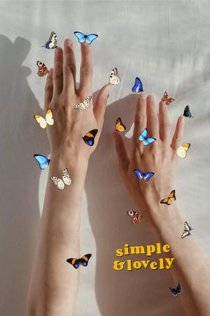 Designvorlage Skincare Ad with Tender Female Hands in Butterflies für Pinterest