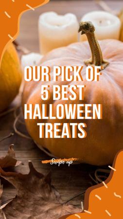 Ontwerpsjabloon van Instagram Story van Halloween Treats with Pumpkin