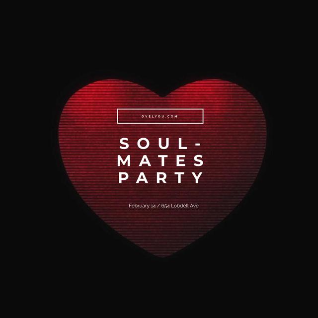 Plantilla de diseño de Valentine's Party Invitation with Red glitch Heart Animated Post