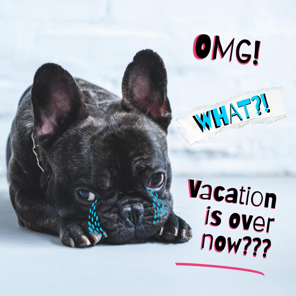 Plantilla de diseño de Cute Dog is Sad about end of Vacation Instagram