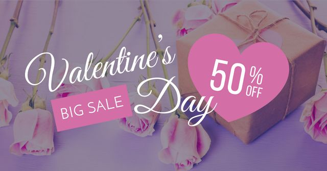 Valentine's Day Gifts with pink roses Facebook ADデザインテンプレート