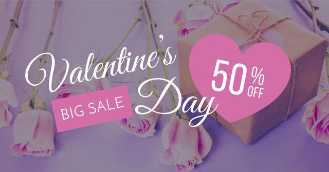 Plantilla de diseño de Valentine's Day Gifts with pink roses Facebook AD