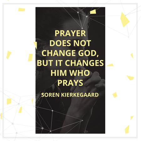 Ontwerpsjabloon van Instagram AD van Religion Quote with Woman Praying