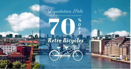 Retro bikes Sale on city view Facebook AD – шаблон для дизайна