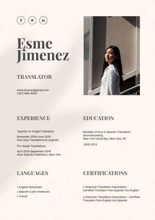 Ontwerpsjabloon van Resume van Translator skills and experience