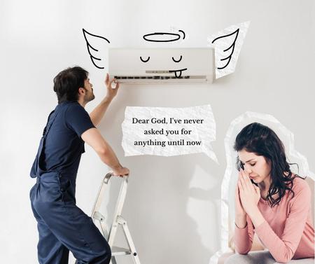 Ontwerpsjabloon van Facebook van Funny Illustration of Conditioner with Angel Wings