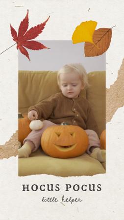 Designvorlage Cute Child with Halloween Pumpkin für Instagram Video Story