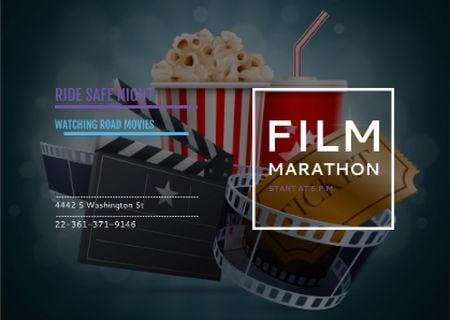 Ontwerpsjabloon van Card van Film marathon night Announcement