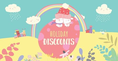 Plantilla de diseño de Easter Discounts with Cute Bunnies on Egg Facebook AD