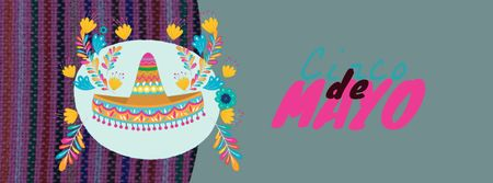 Plantilla de diseño de Cinco de Mayo Mexican holiday hat Facebook Video cover