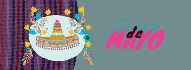Modèle de visuel Cinco de Mayo Mexican holiday hat - Facebook Video cover