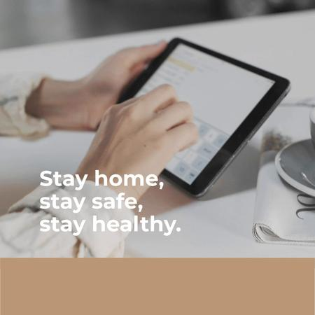 Template di design Tip to stay home with Woman using tablet Animated Post