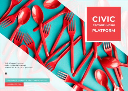 Crowdfunding Platform with Red Plastic Tableware Postcard – шаблон для дизайна