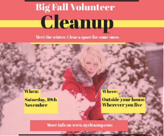 Template di design Winter Volunteer clean up Medium Rectangle