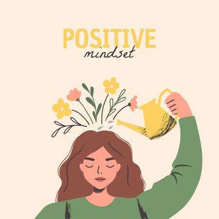 Template di design Positive Mindset Inspiration with Cute Girl Instagram