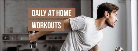 Designvorlage Man doing Workout at Home für Facebook cover